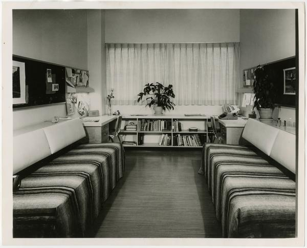 Interior view of dorm room in residence hall, ca. 1963