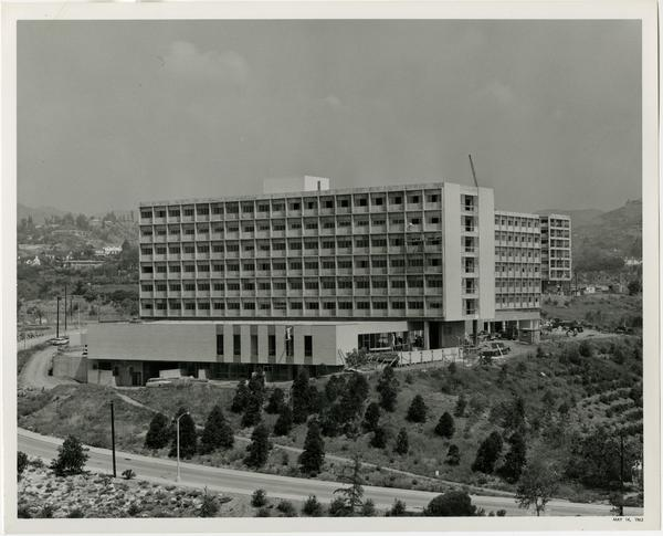 Exterior view of Rieber Hall, Residence Hall, ca. May 1963