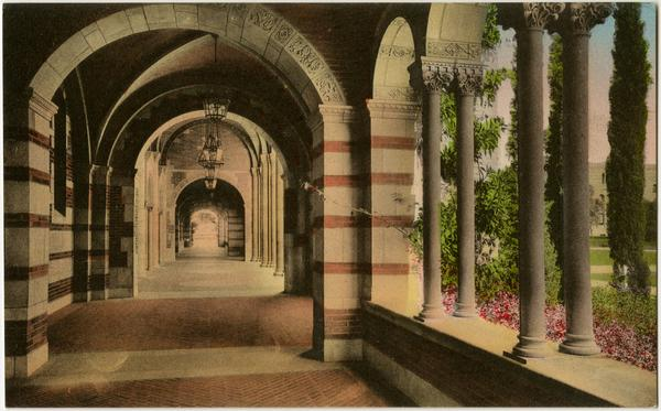 Hand-colored view of Royce Hall arcade