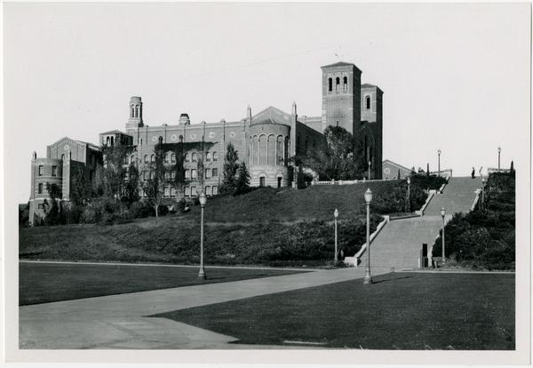 View of quad and Janss Steps leading to Royce Hall