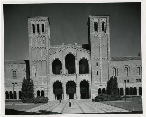 View of people walking near Royce Hall