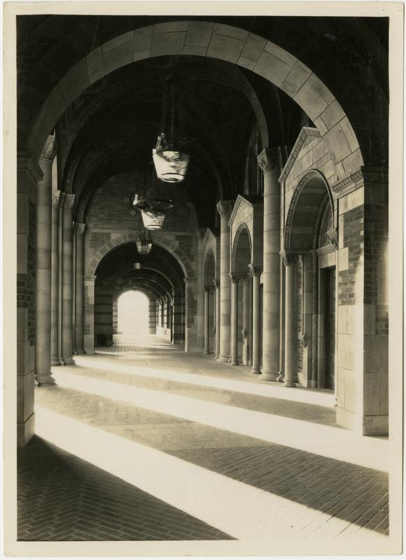 View of Royce Hall arcade, ca. 1930