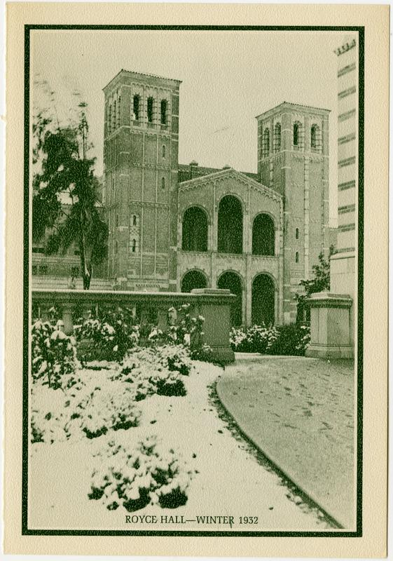 View of Royce Hall in winter, 1932