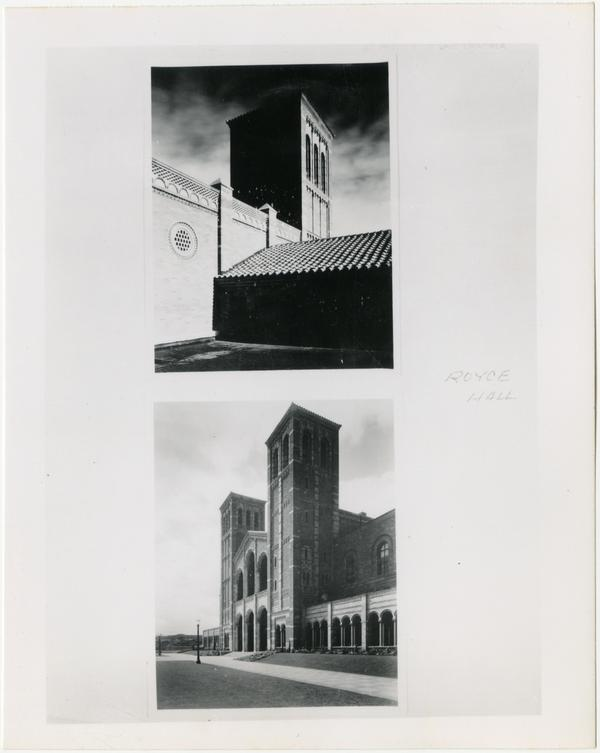 Two views of Royce Hall Towers