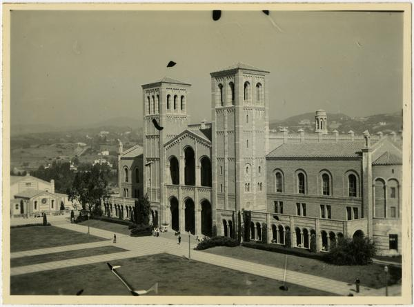 View of Royce Hall from Humanities Building with Women's Gymnasium in the background, 1937