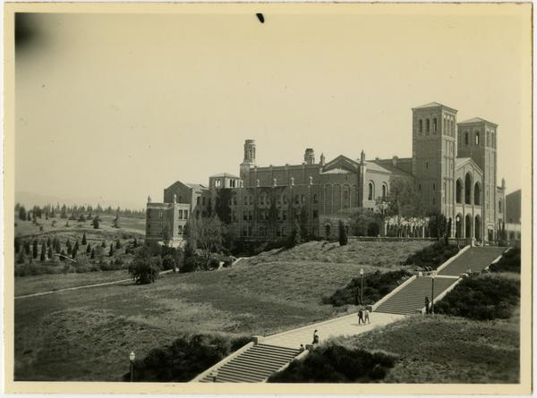 Looking northeast towards Royce Hall with Janss Steps in the foreground, 1937