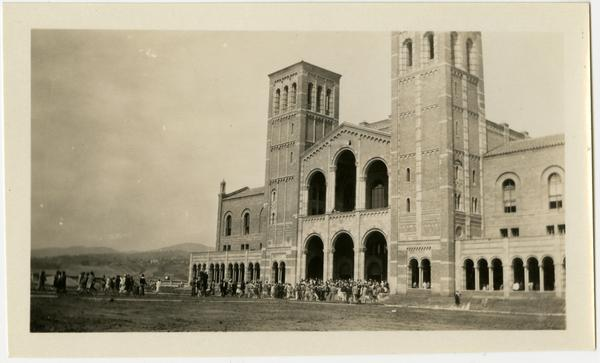 View of Royce Hall entrance with students congregating for First Assembly, 1929