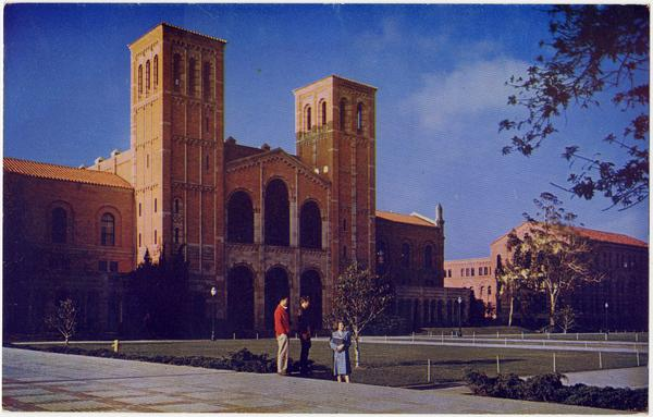 People outside of Royce Hall with view of Haines Hall on the right