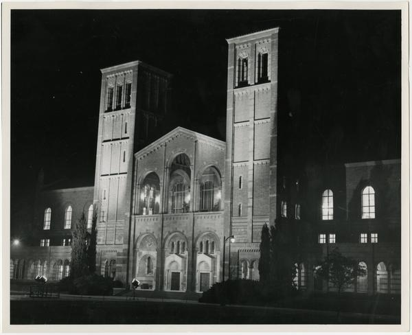 View of Royce Hall at night during Homecoming, October 18, 1952