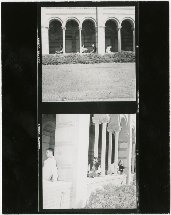 Two views of students sitting in arcade of Royce Hall, ca. 1965