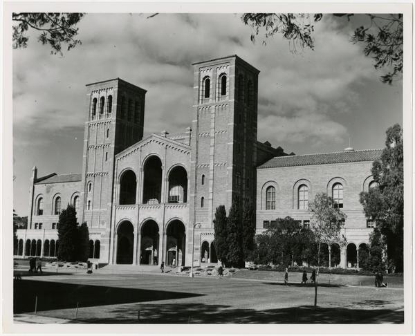 Students walking near Royce Hall, January 6, 1965