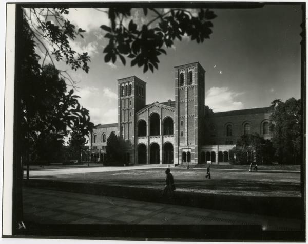View of people walking by Royce Hall