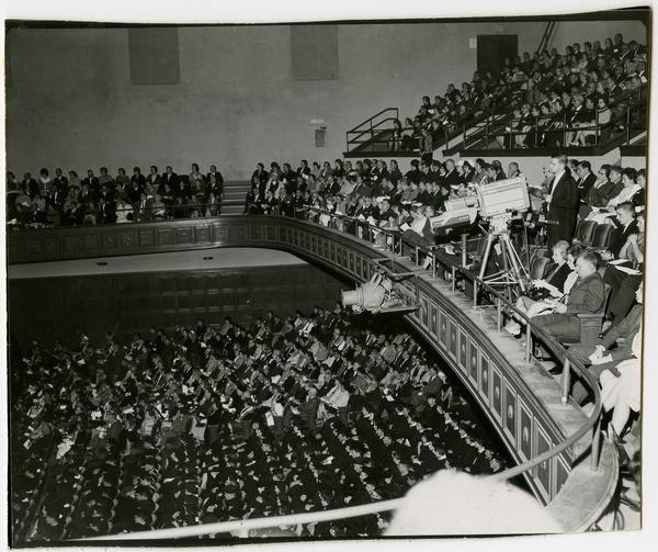 Interior view of Royce Hall auditorium filled with audience