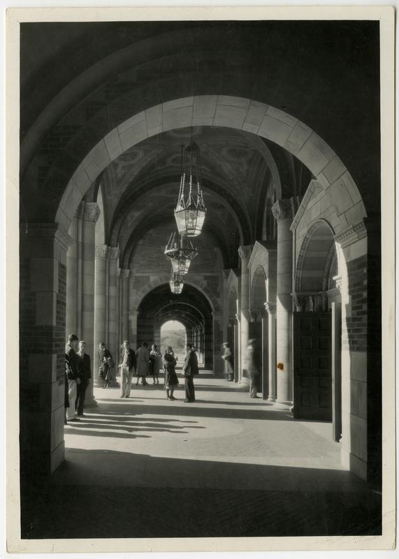 View of Royce Hall arcade, ca. 1935