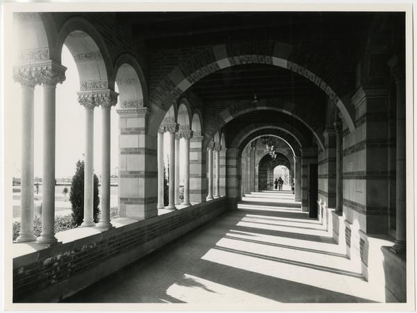 View of Royce Hall arcade, ca. 1930's