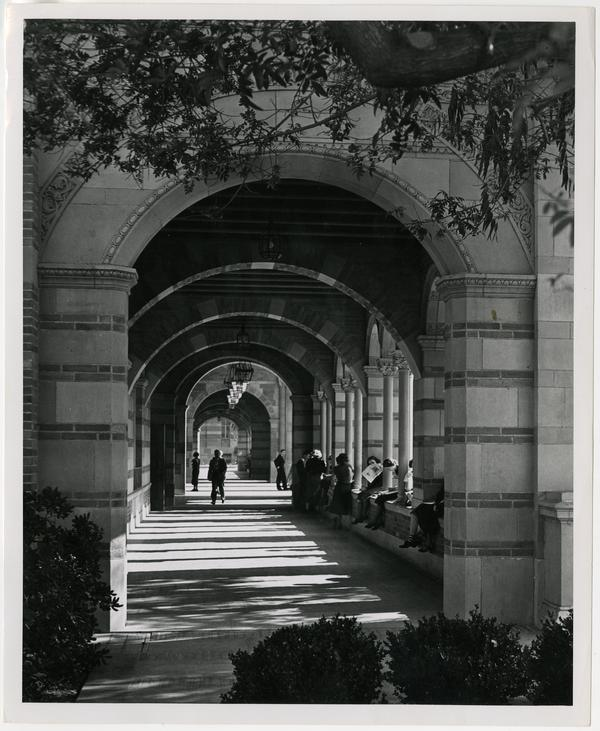 View of Royce Hall arcade, ca. 1935