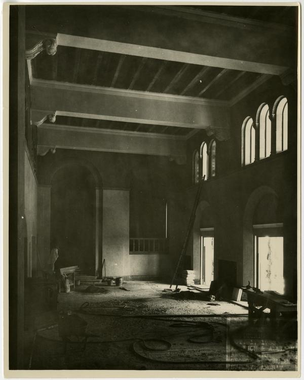 Interior view of Royce Hall under construction, October 1, 1928