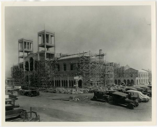 View of Royce Hall during construction, ca. 1920s