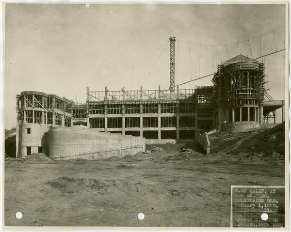Royce Hall during construction, February 1, 1928