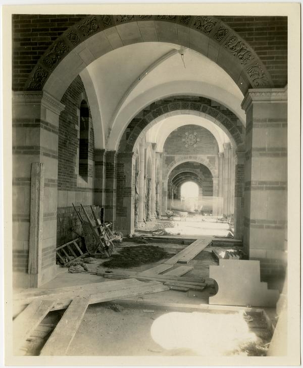View of Royce Hall arcade during construction