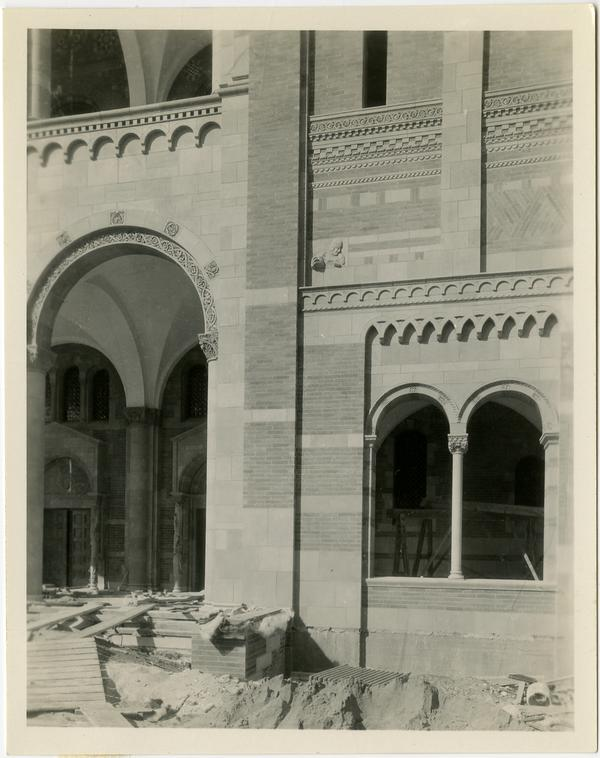View of Royce Hall arcade and windows during construction