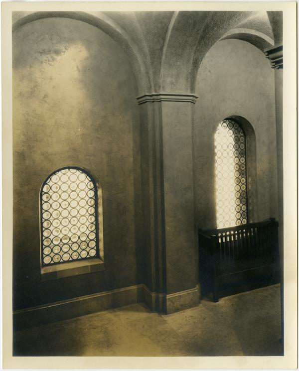 Interior view of Royce Hall windows, ca. 1930