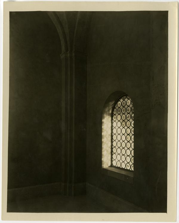 Interior view of Royce Hall window, ca. 1930