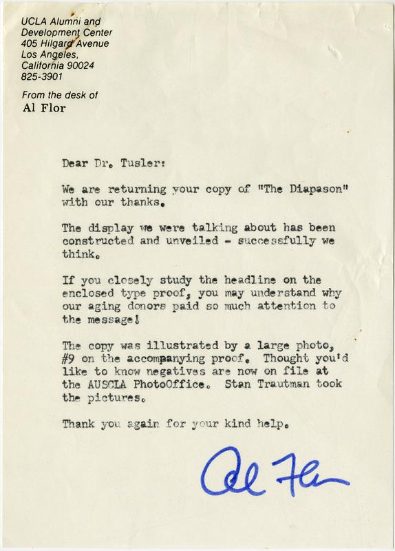 Letter from Al Flor to Dr. Tusler