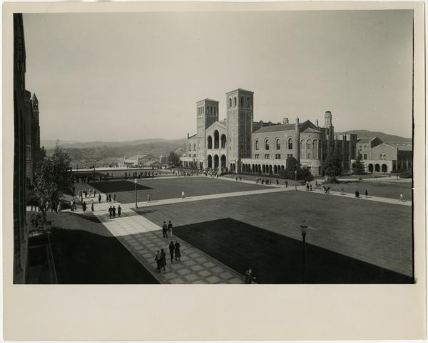 View of Royce Hall and Quad from second floor of Kinsey Hall (currently known as Humanities Hall), ca. 1934
