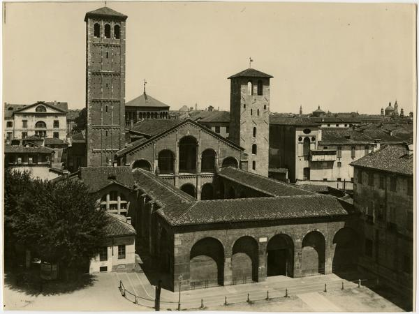 View of San Ambroggio basilica for Powell Library Historical American Buildings Survey (HABS), ca. 1997