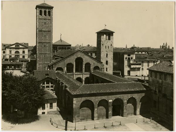 View of San Ambroggio basilica for Powell Library Historical American Buildings Survey (HABS), ca. 1997