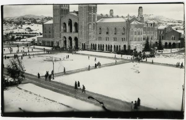 Snow covering Royce Hall and quad, ca. 1927