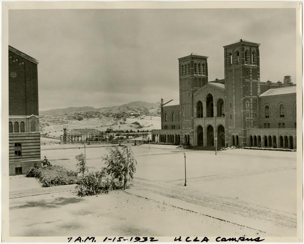 View of Royce Hall and quad in the morning covered in snow, January 15, 1932