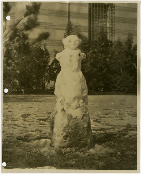 Snow man on campus, ca. 1932