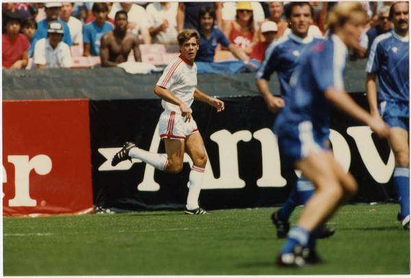 Paul Caligiuri running down fieldat FIFA World Cup All-Star Game, July 1986