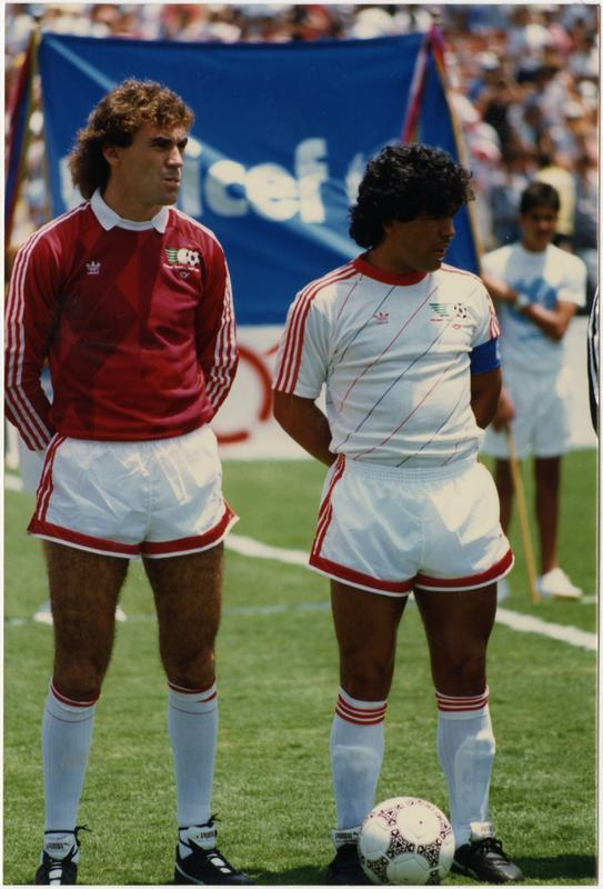 Photo of 1986 FIFA World Cup All-Star Game soccer players, July 1986