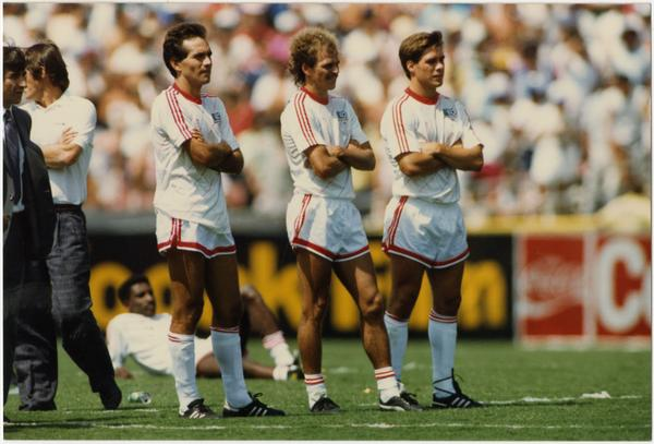 UCLA team member, Paul Caligiuri, standing (third from right) with team at 1986 FIFA World Cup All-Star Game, July 1986