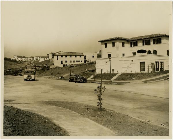 View of Hilgard Avenue, Sorority Row, ca. 1930
