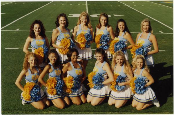 Spirit Squad team portrait on football field, October 17, 1998