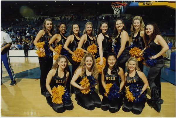 Photo of Spirit Squad on court, February 27, 1999