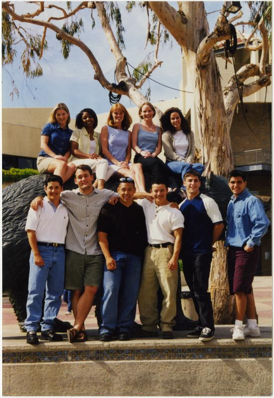 Spirit Squad posing by Bruin Bear sculpture, June 1998