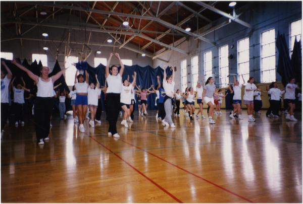 Spirit Squad practicing on court
