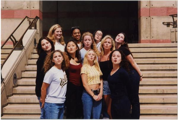 Spirit Squad standing in front of stairs, ca. June 1998