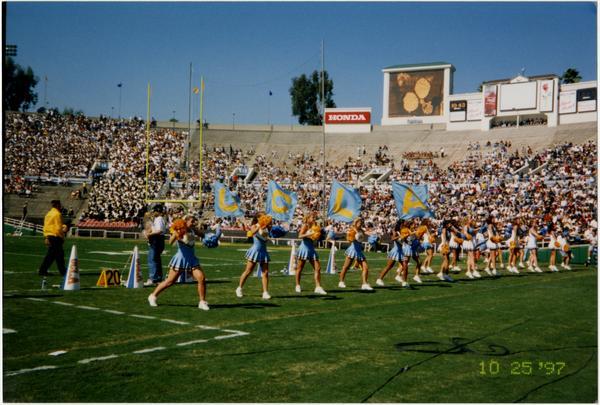 Spirit Squad performing on field, October 25, 1997