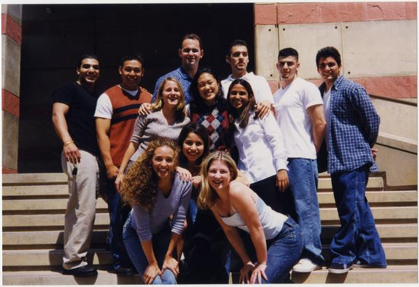 Spirit Squad in front of stairs, ca. May 1999