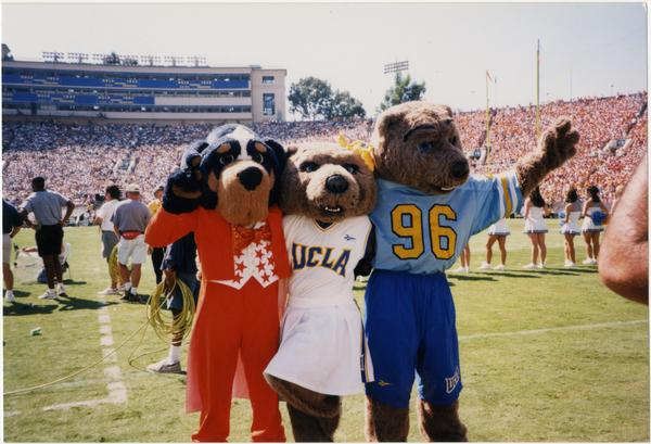 Joe and Josie Bruin mascots with University of Tenneessee Vols mascot