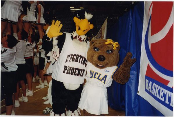 Josie Bruin with bird mascot