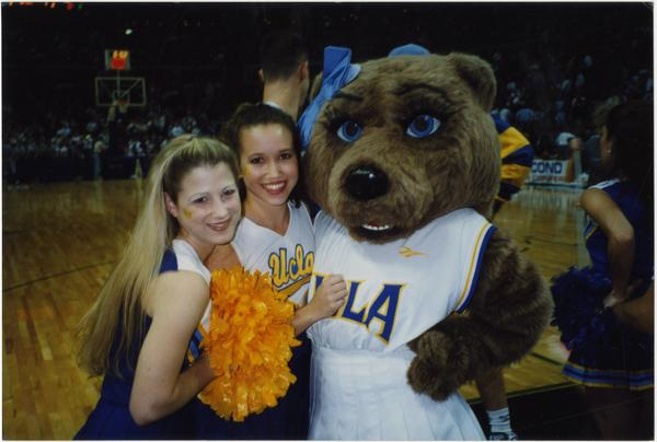 Josie Bruin posing with Spirit Squad members, ca. April 1997