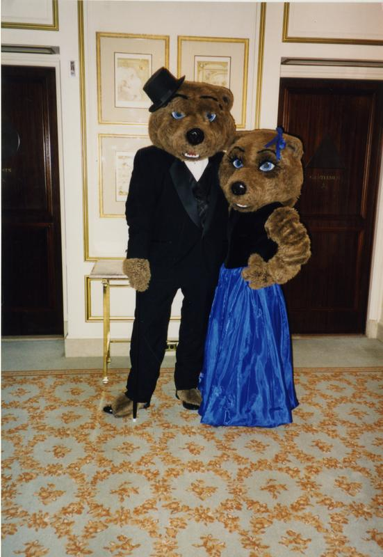Joe and Josie Bruin in formal attire, ca. February 1998