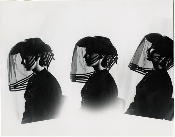 Three views of woman in black with veil over face in Theater Arts Department production scene